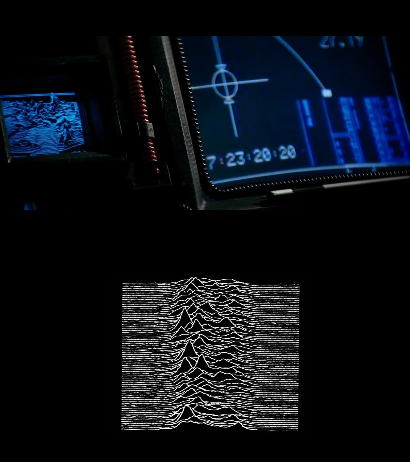 Screenshot from Aliens, contrasted with the classic Joy Division album cover