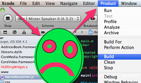 Xcode4's product menu item. With frowny face.